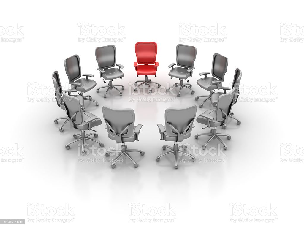 Office Chairs Meeting - One Red stock photo