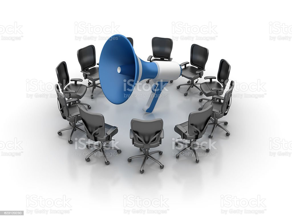 Office Chairs Meeting with Megaphone stock photo