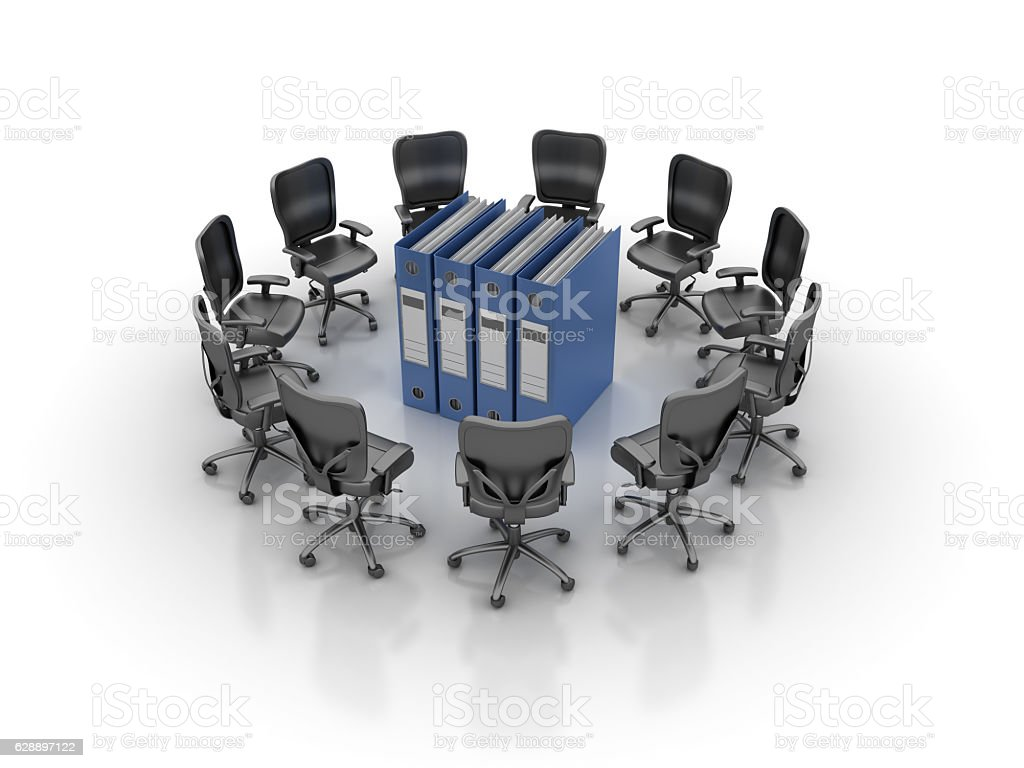 Office Chairs Meeting with Ring Binders - 3D Rendering stock photo