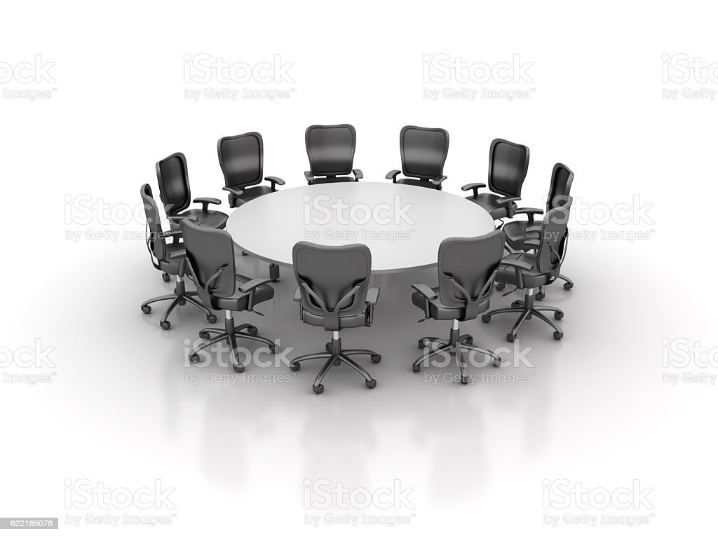 Office Chairs Meeting with Round Table stock photo