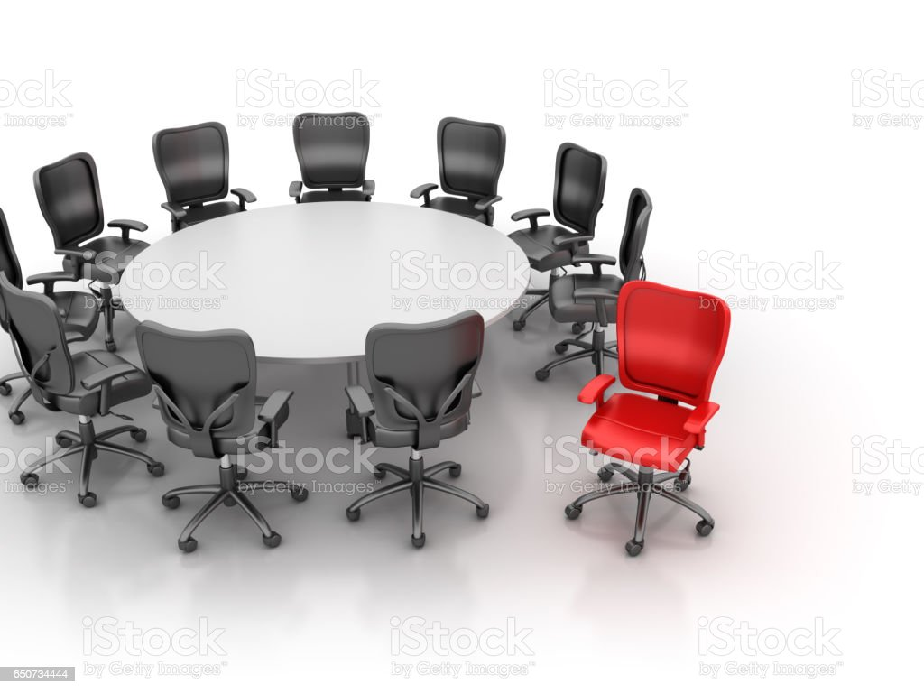 Office Chairs Meeting with Table One Red - 3D Rendering stock photo