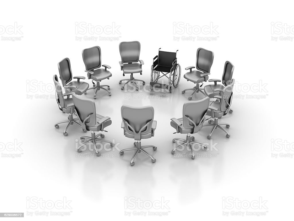 Office Chairs Meeting with Wheelchair -  3D Rendering stock photo