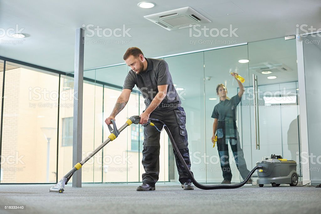 office cleaning contractors stock photo