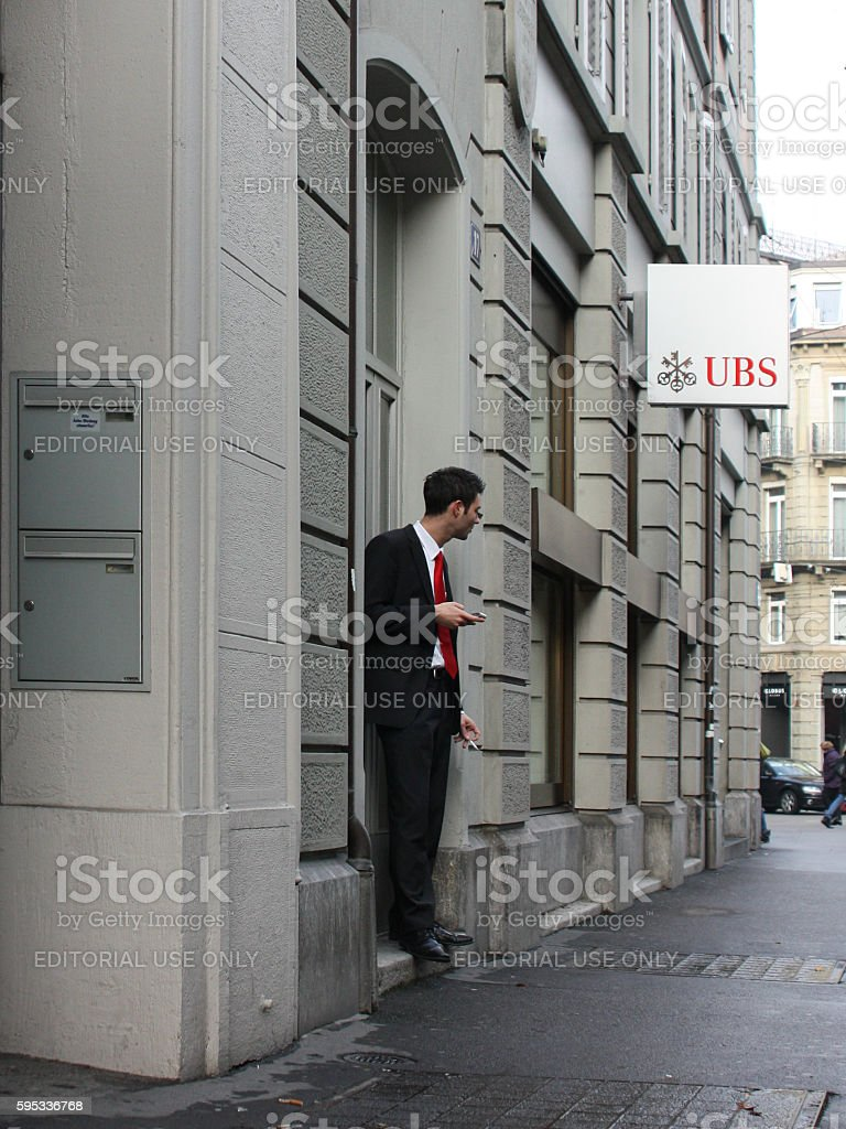 Office clerk went out to smoke stock photo