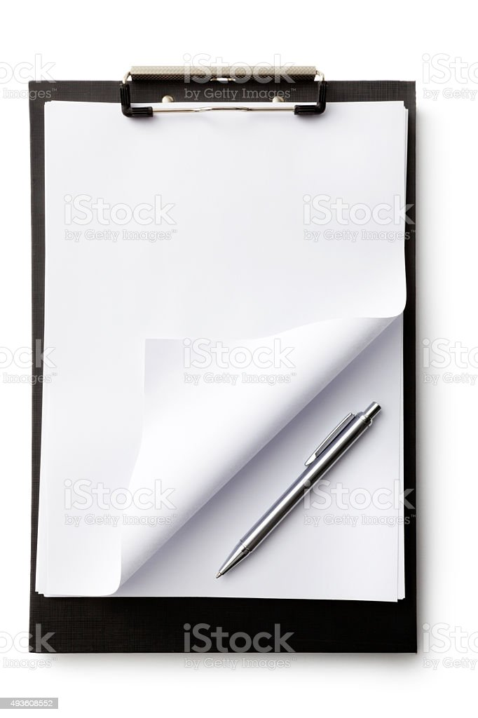 Office: Clipboard with Folded Paper and Pen stock photo