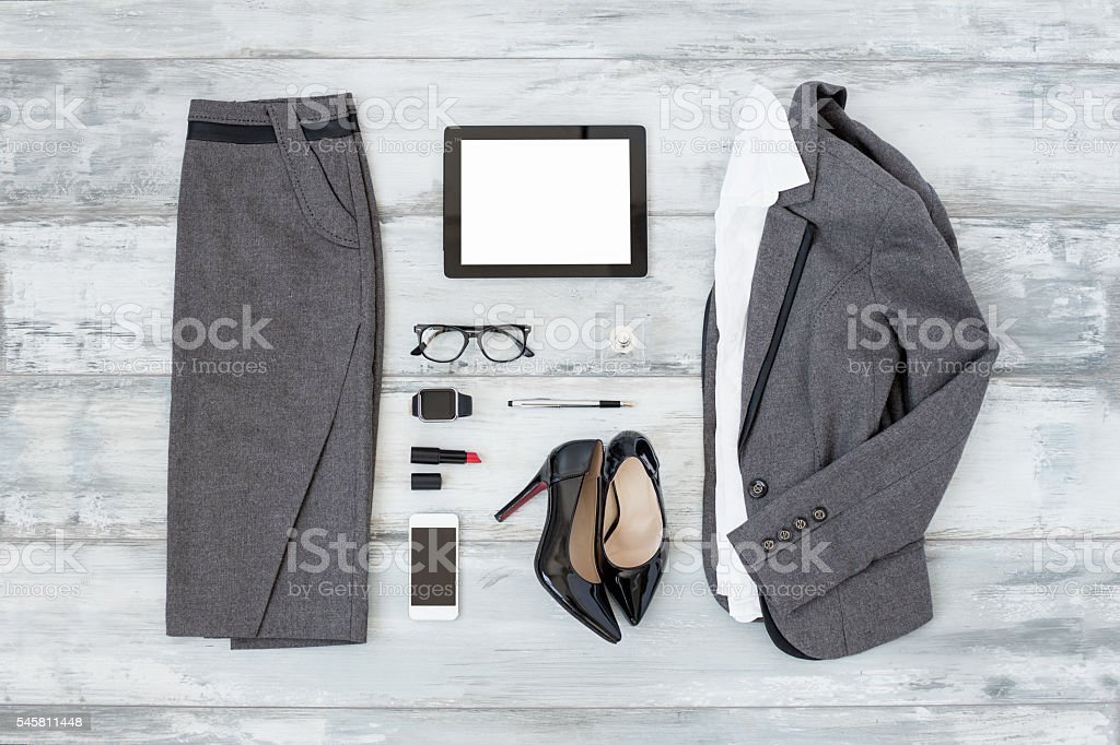 Office cloathing and tools for women stock photo
