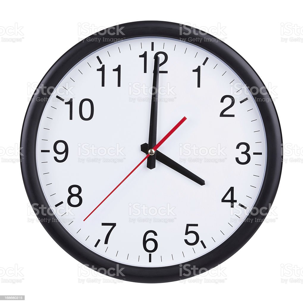Office clock shows exactly four o'clock royalty-free stock photo