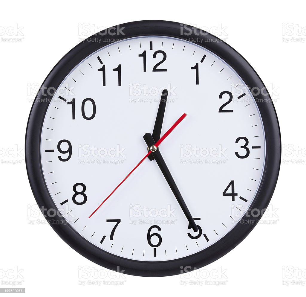 Office clock shows half of the first royalty-free stock photo