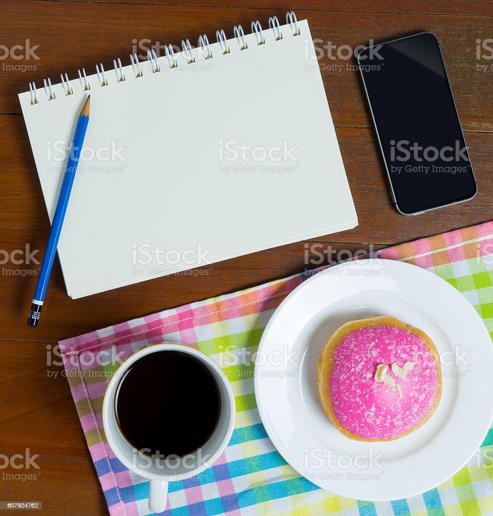 office coffee break business object with blank notebook copy space