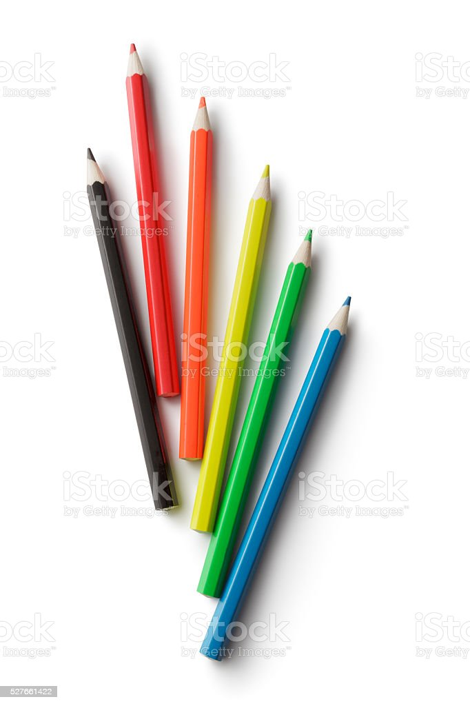 Office: Color Pencils Isolated on White Background stock photo