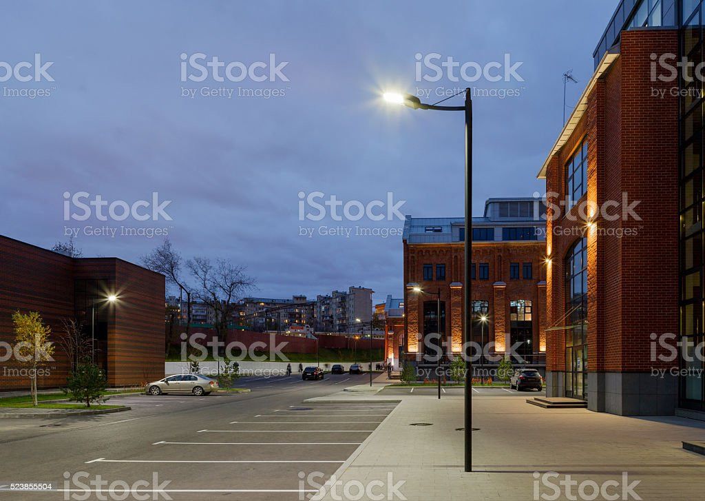 Office complex exterior in loft style. stock photo