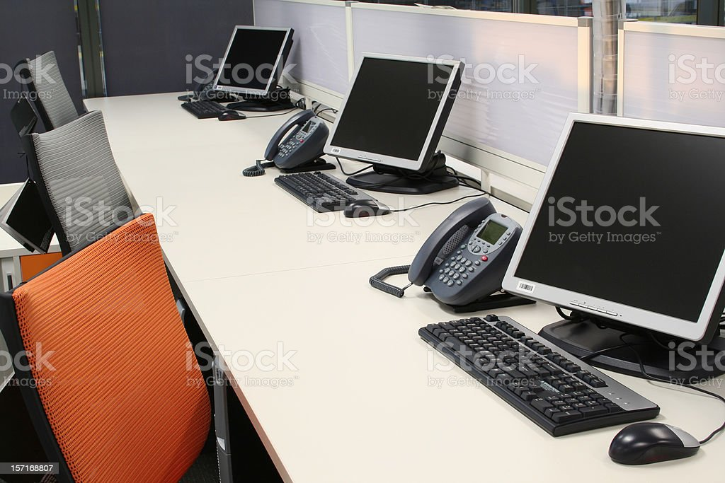 Office Computer setup stock photo