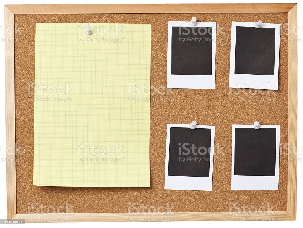 Office cork board full of blank memo notes. royalty-free stock photo