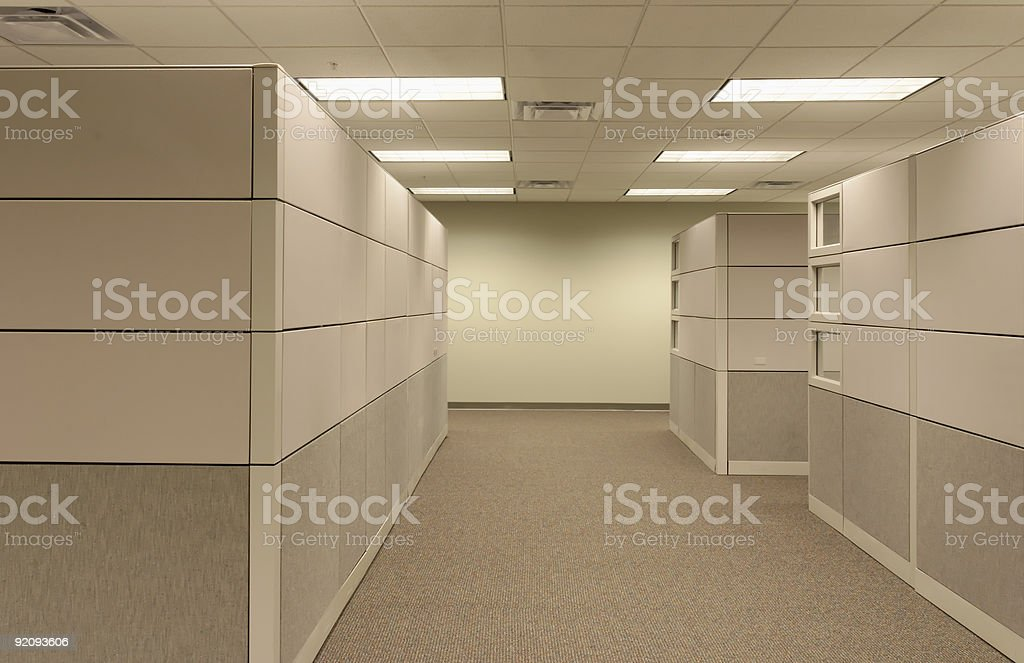 Office Cubicle Landscape - empty hallway stock photo
