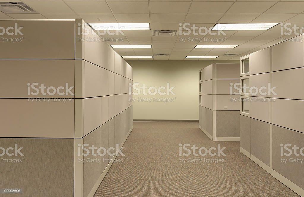 Office Cubicle Landscape - empty hallway stock photo