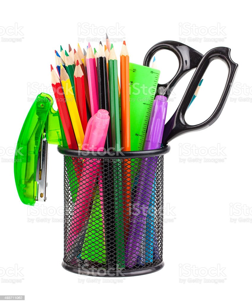 Office cup with scissors, pencils and pens stock photo