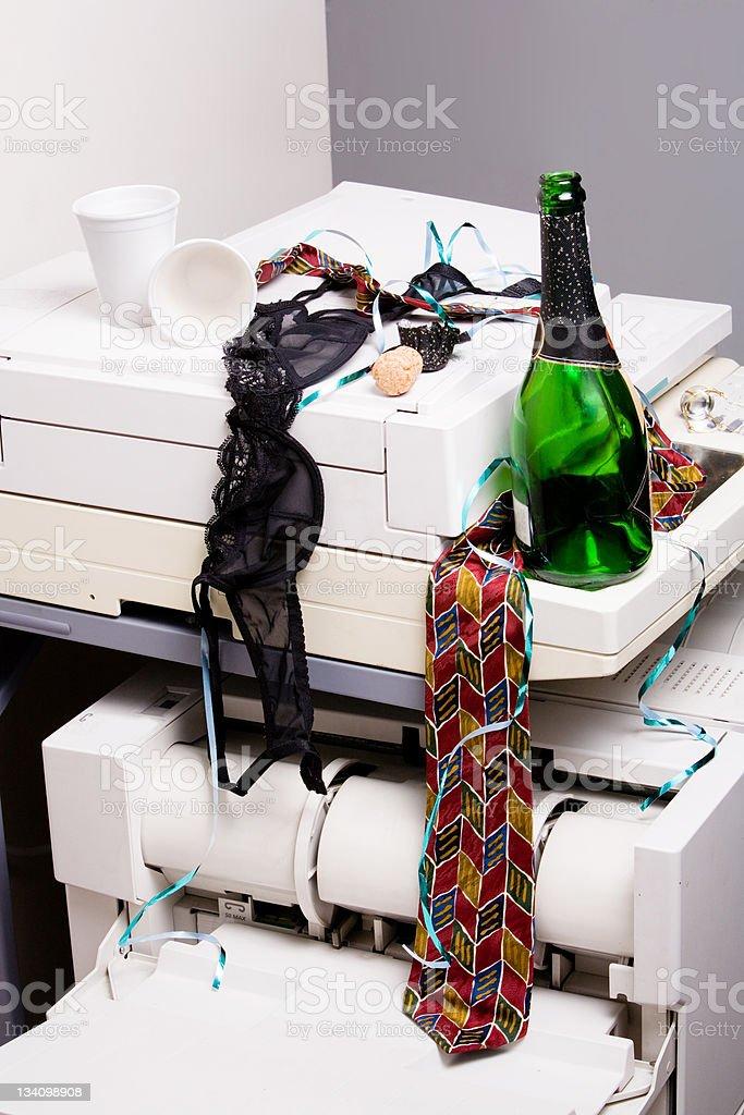 Office debauchery tableau stock photo