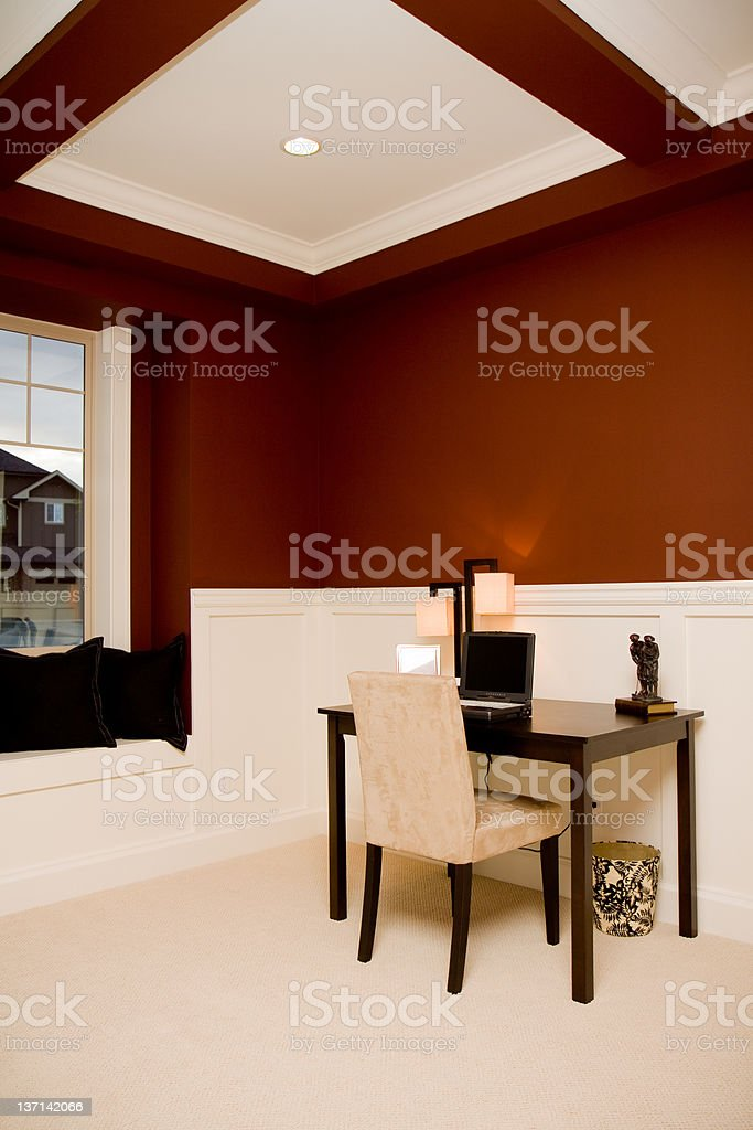 Office / Den in New Luxury Home stock photo