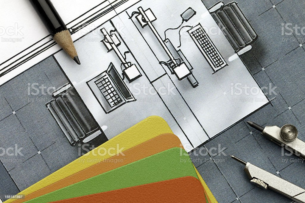 Office Design Concept with double desk configuration royalty-free stock photo