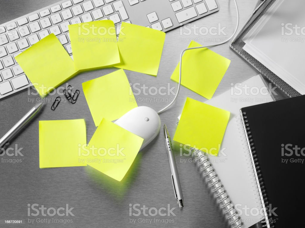 Office Desk and Adhesive Notes royalty-free stock photo