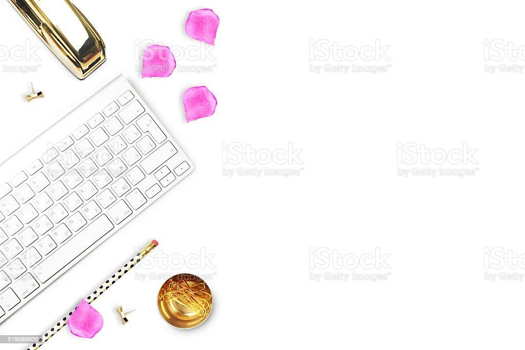 Escritório mulher e objetos de mesa brancas. foto royalty-free