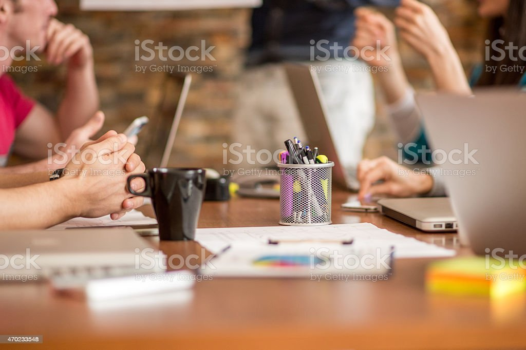 Office desk during a meeting stock photo