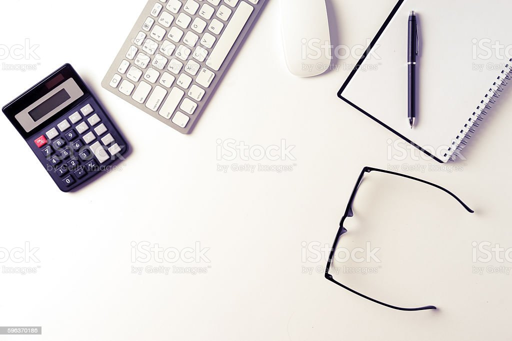 Office desk from top view with space stock photo
