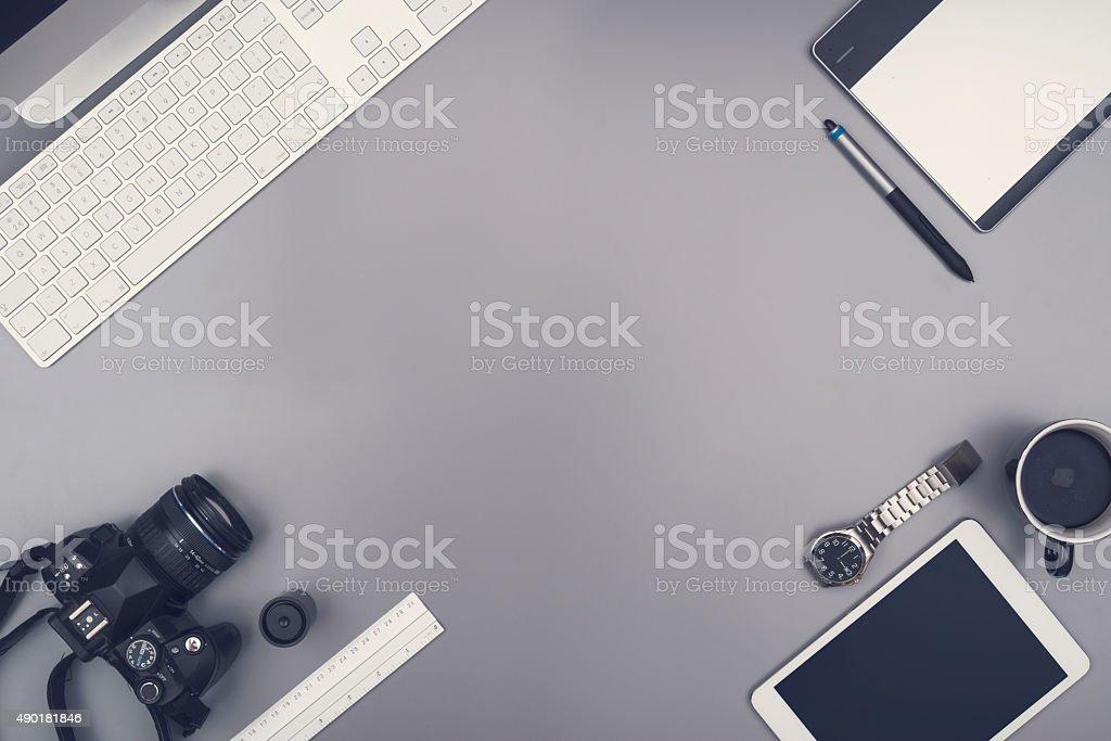 Office desk hero header stock photo