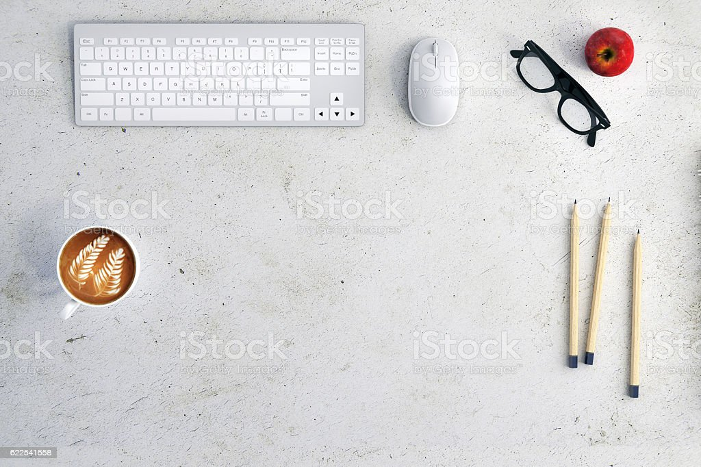 Office desk knolling stock photo