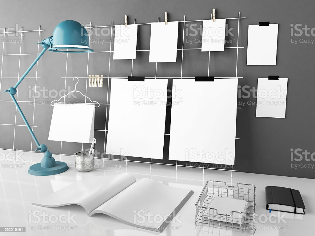 Office desk mock up, 3d illustration stock photo