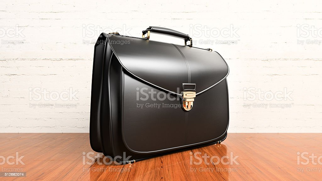 Office desk table with briefcase stock photo