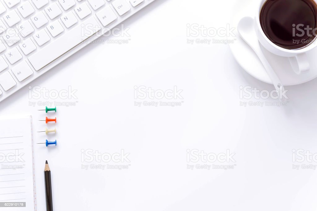 Office desk table with computer. stock photo