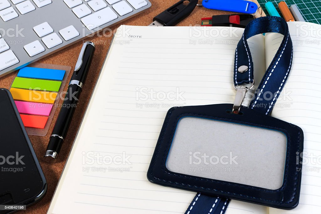 Office desk table with office supplies. View from above. stock photo