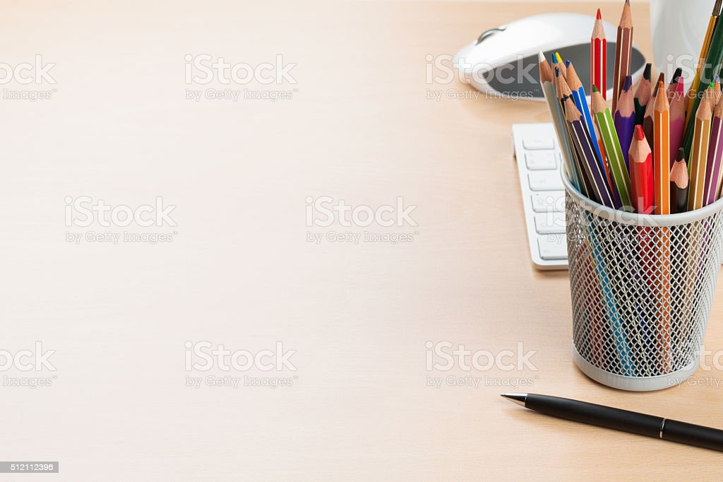 Office desk table with supplies stock photo