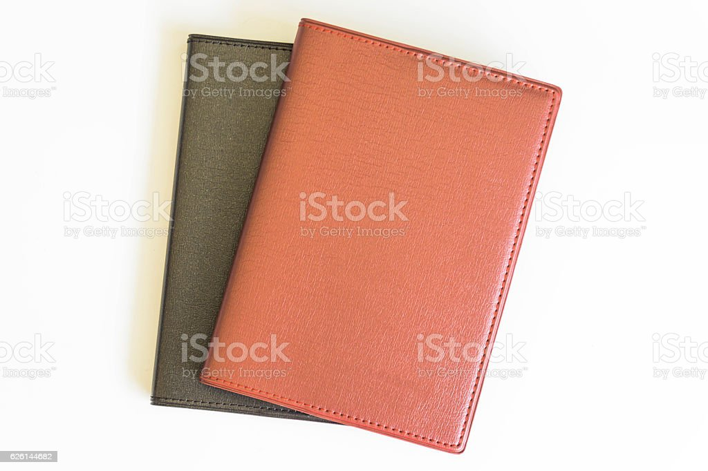 Office desk top view with book stock photo
