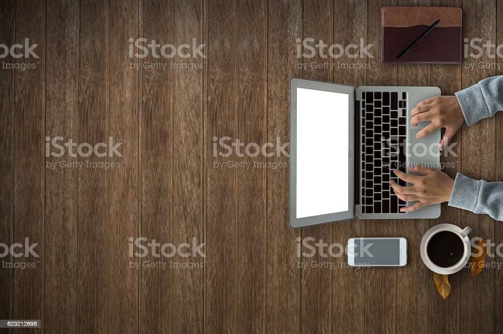 Office desk work with laptop,phone. stock photo