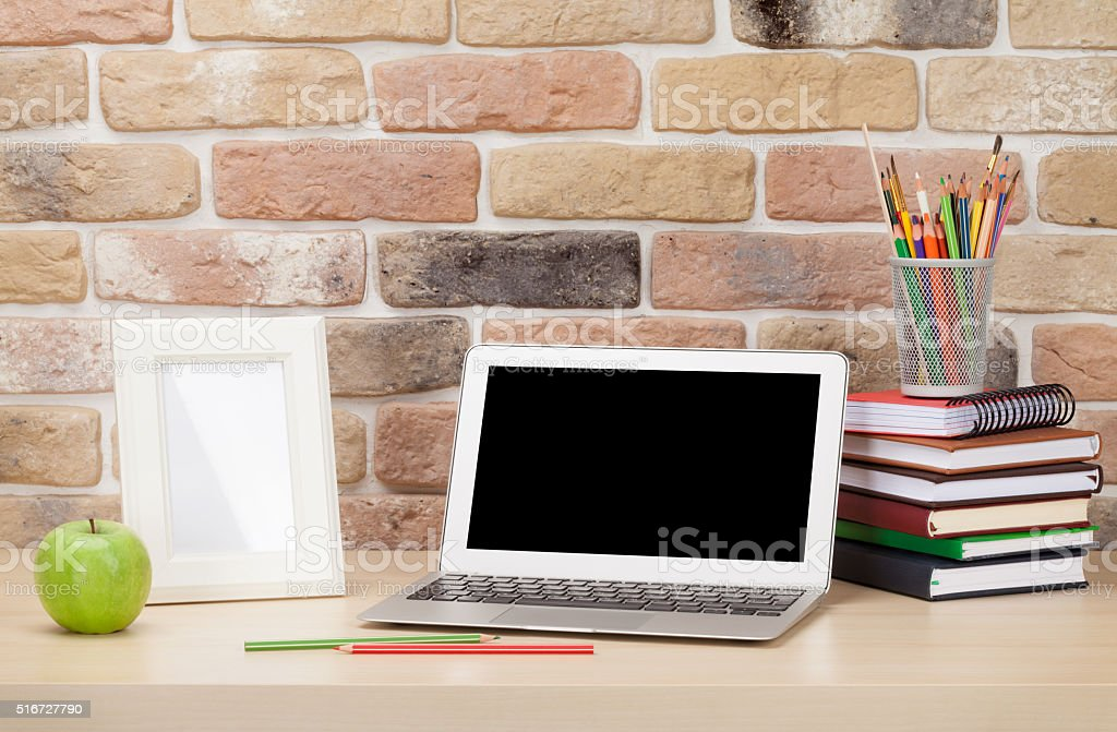 Office desk workplace with laptop stock photo