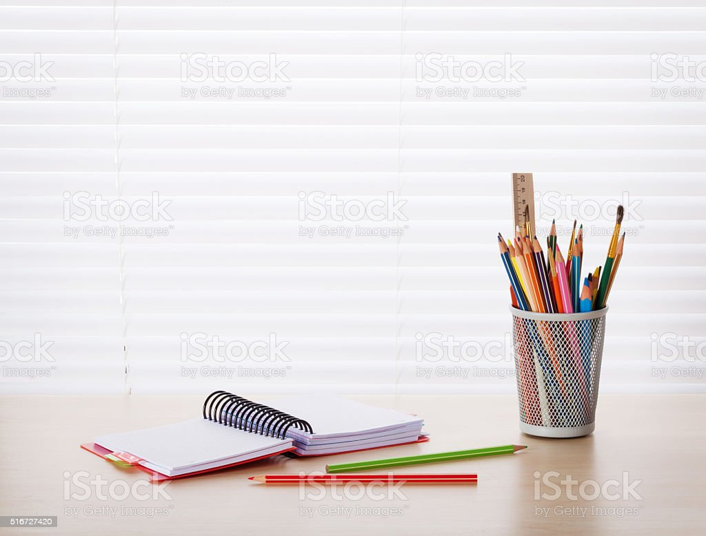 Office desk workplace with supplies stock photo