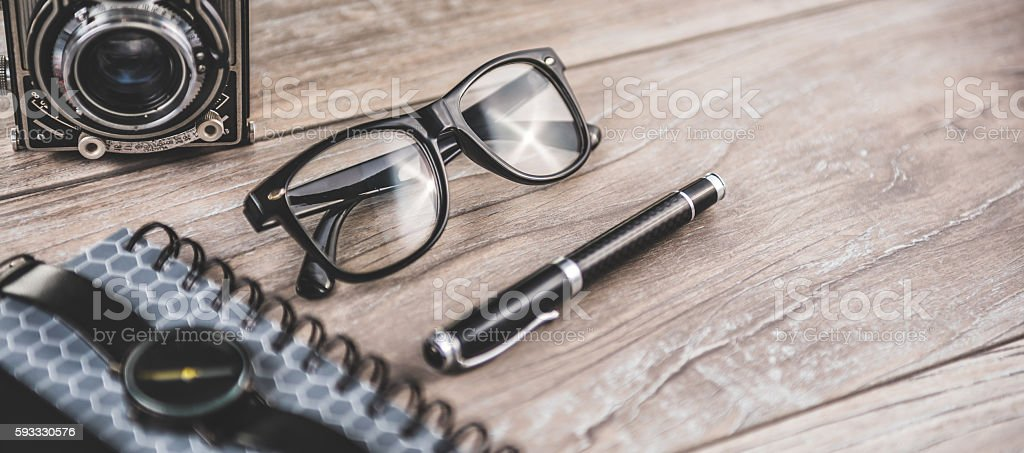 Office desktop with personal items stock photo