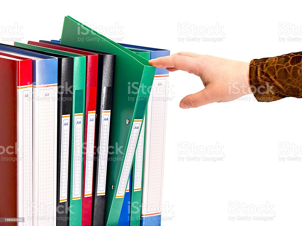 office document folders standing in a row royalty-free stock photo