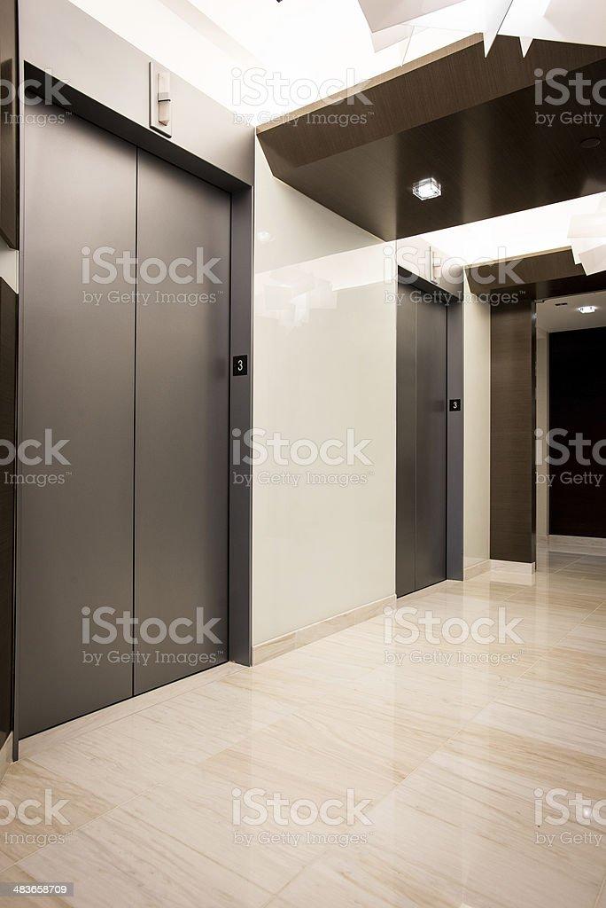 Office Elevator Banks stock photo