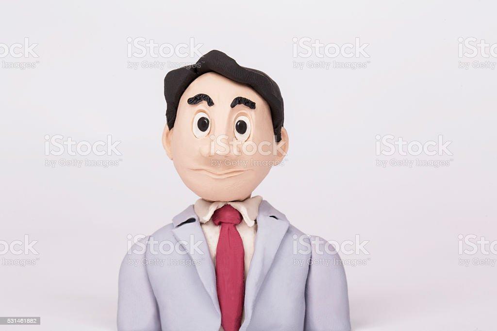 office employee, handmade clay figurine stock photo