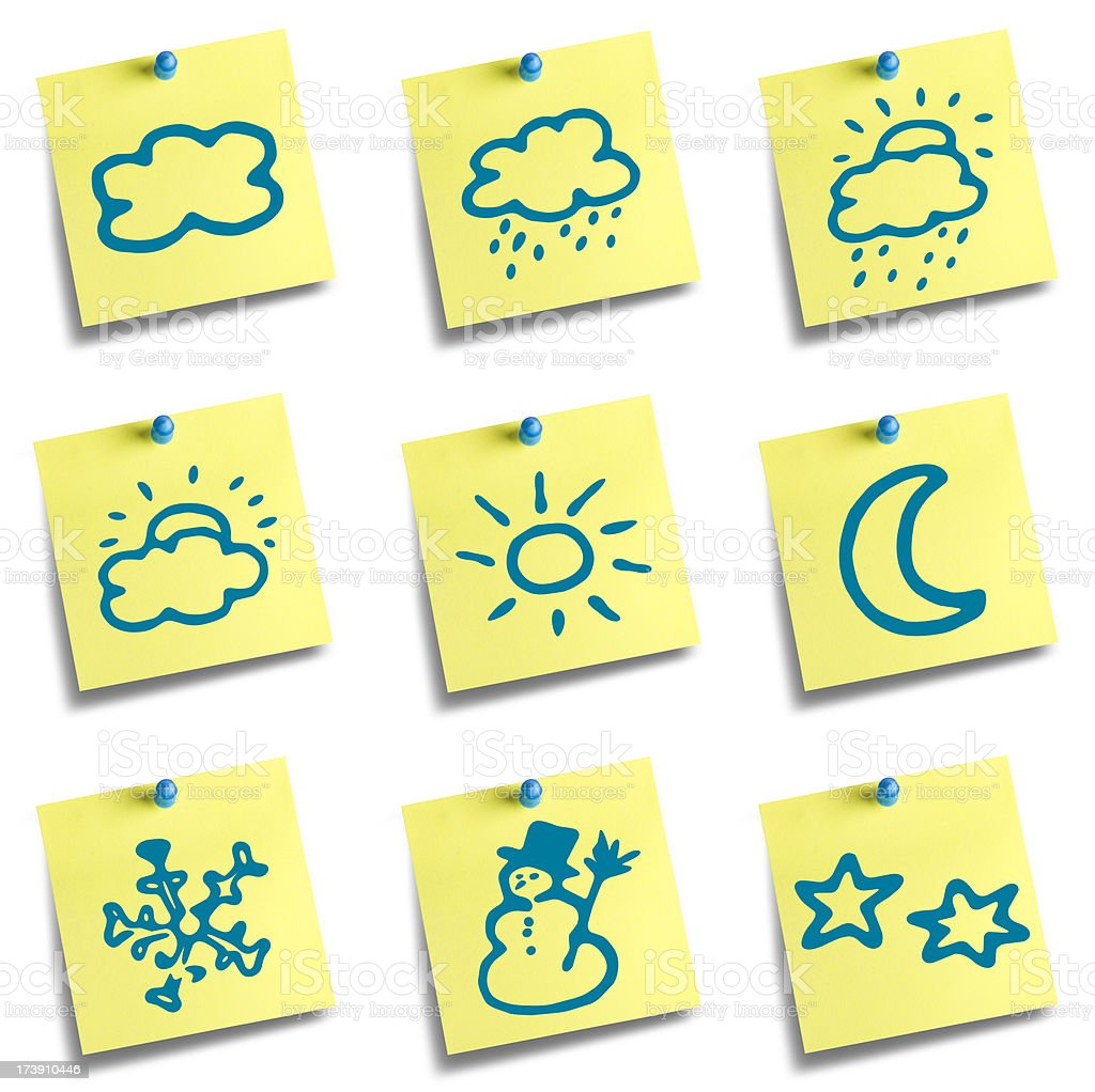 Office environment weather theme sticky note royalty-free stock photo