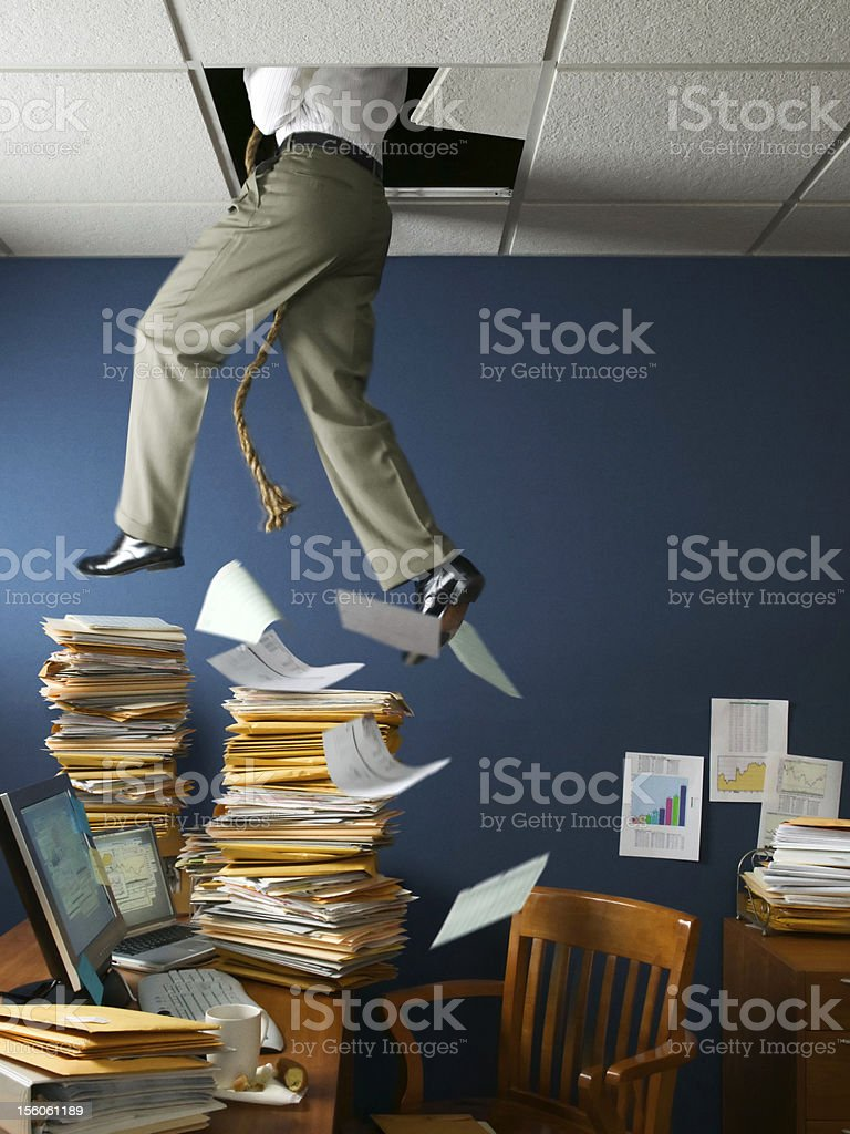 Office Escape Through Ceiling stock photo