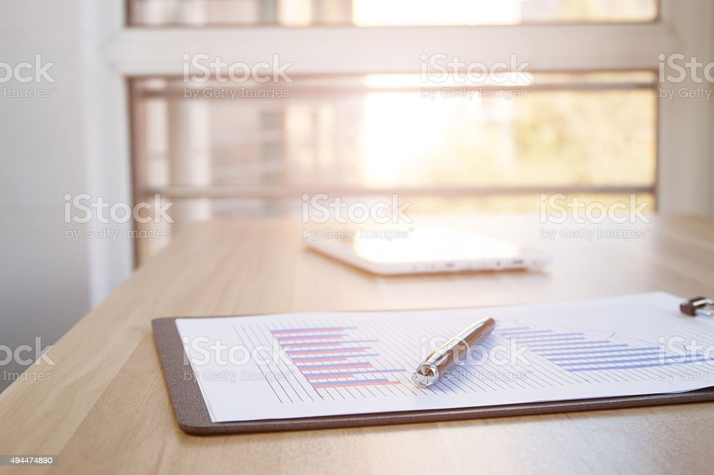 Office financial statements stock photo