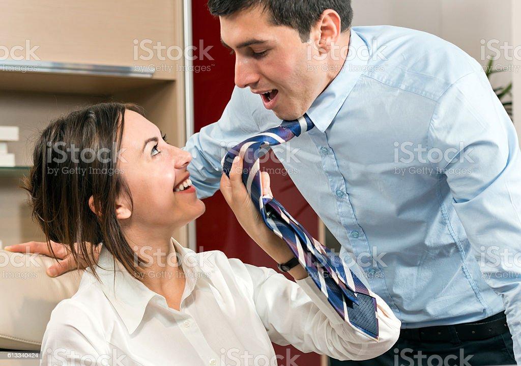 Office flirt stock photo