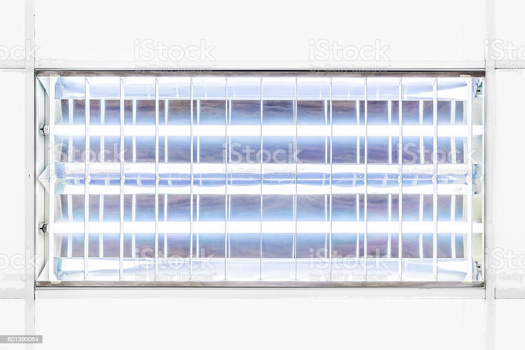 Office fluorescent tubes lighting fixture casing tileable texture stock photo