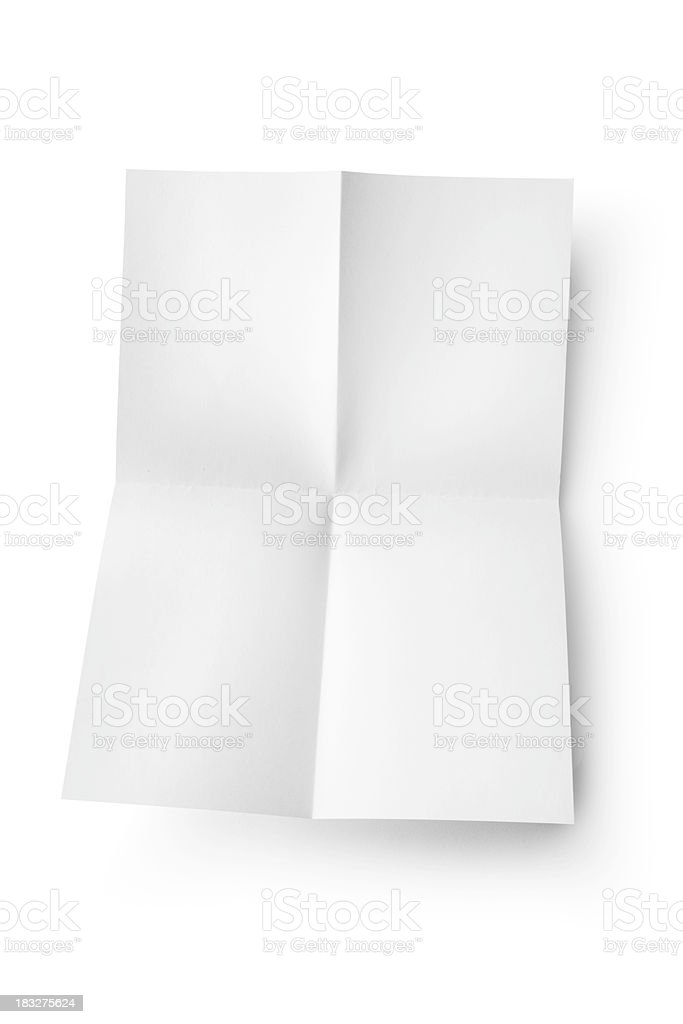 Office: Folded Blank Sheet of Paper royalty-free stock photo