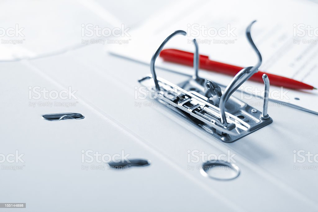 Office folder red pen and document stock photo