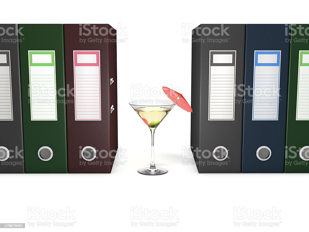 Office folders and martini coctail decorated with red umbrella stock photo